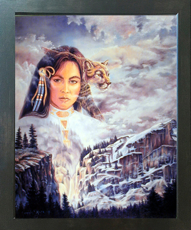 Native American Indian Princess and Mountain Lion Fine Wall Decor Espresso Framed Picture Art Print (20x24)