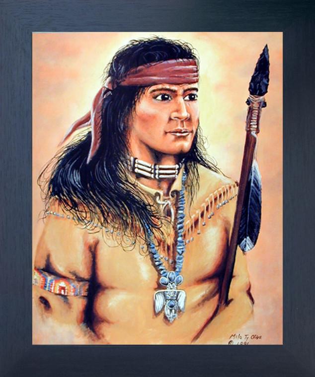 Indian Warrior Milo Olive Native American Wall Decor Espresso Framed Picture Art Print (20x24)
