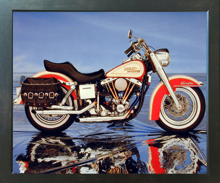 Harley Davidson Electra Glide Vintage Motorcycle Espresso Wall Decor Framed Picture Art Print (20x24)