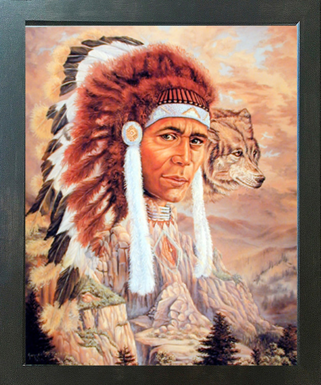Native American Indian Chief and Wolf Wall Decor Espresso Framed Picture Art Print (20x24)