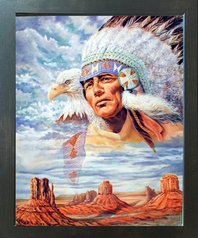 Native American Indian Chief & Eagle Wall Decor Espresso Framed Picture Art Print (20x24)