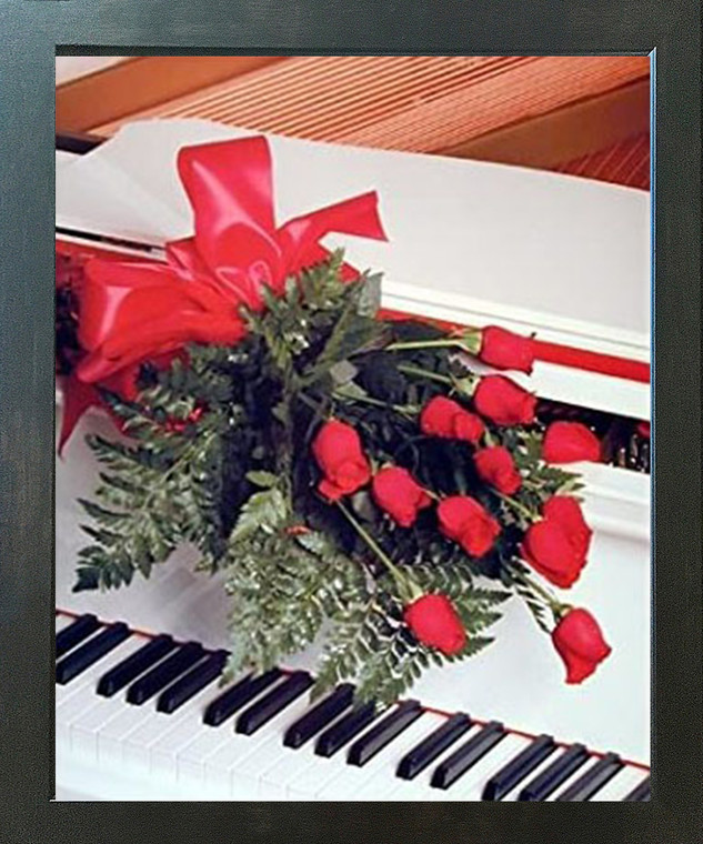 Red Roses on Piano Romantic Musical Instrument Wall Decor Espresso Framed Picture Art Print (20x24)