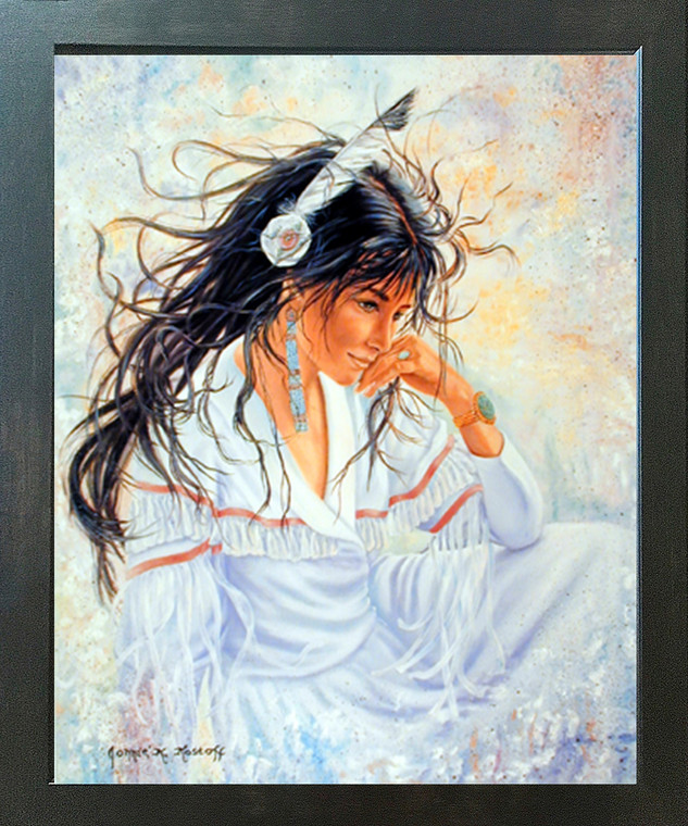 Indian Maiden Half Breed Woman Native American Wall Decor Espresso Framed Picture Art Print (20x24)
