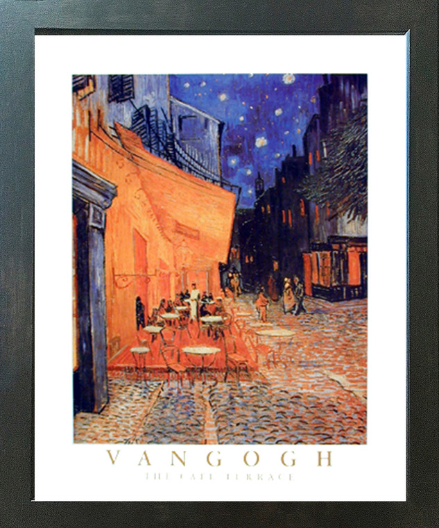Vincent Van Gogh the Cafe Terrace At Night Wall Decor Espresso Framed Art Print Picture (20x24)