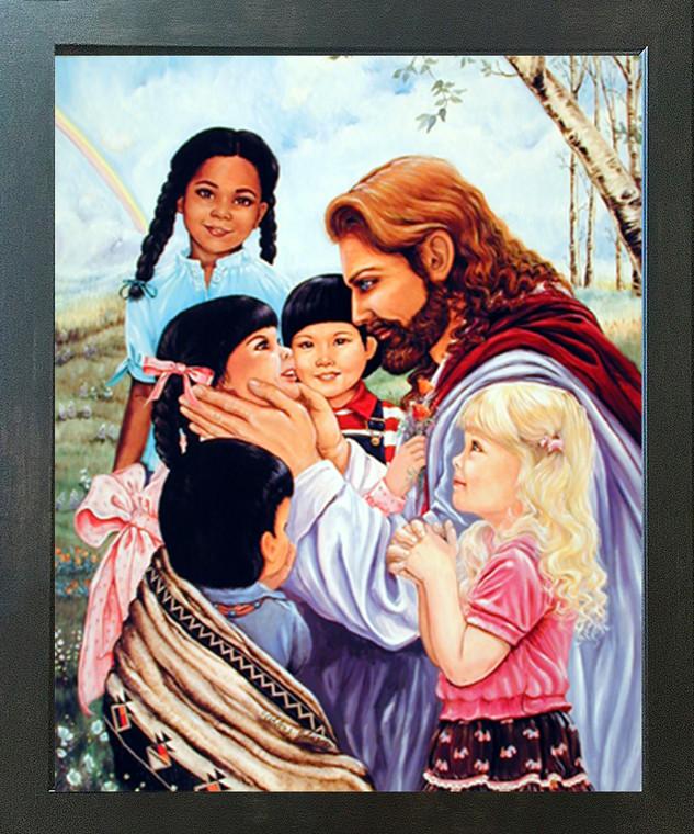 Jesus Christ with Children Religion & Spiritual Wall Decor Espresso Framed Art Print Picture (20x24)