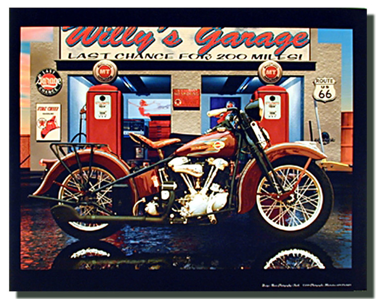 Harley Davidson Willy's Garage Motorcycle Posters