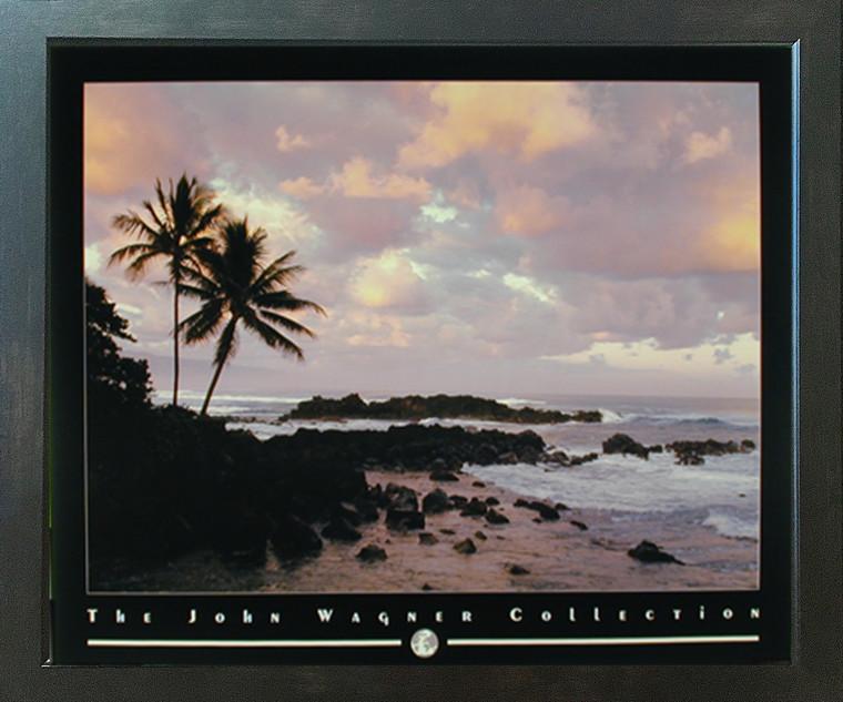 Coastal Mood Sunrise On Ocean Beach John Wagner Nature Scenery Wall Espresso Framed Picture Art Print (20x24)
