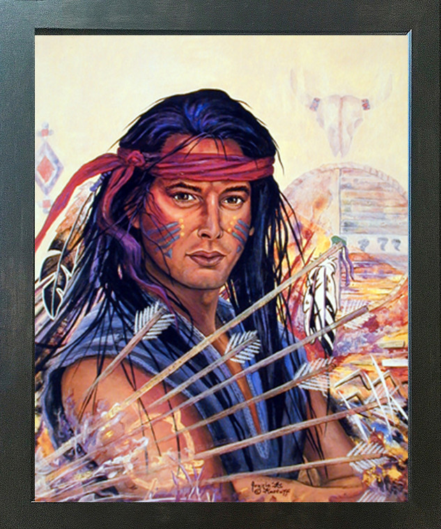 Native American Indian Brave Warrior Wall Espresso Framed Picture Art Print (20x24)