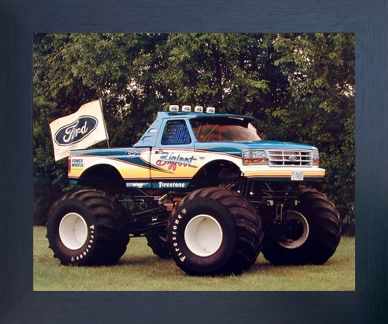 1993 Ford Monster Racing Truck Wall Poster (Espresso Framed Picture Art Print - 20x24)