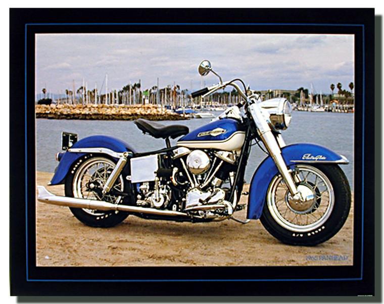 Blue Panhead Harley Davidson Motorcycle Posters