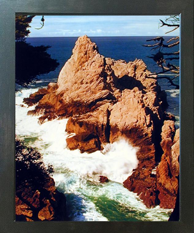 Ocean Crashing Waves on Rocks Scenery Landscape Nature Wall Decor Espresso Framed Art Print Picture (20x24)