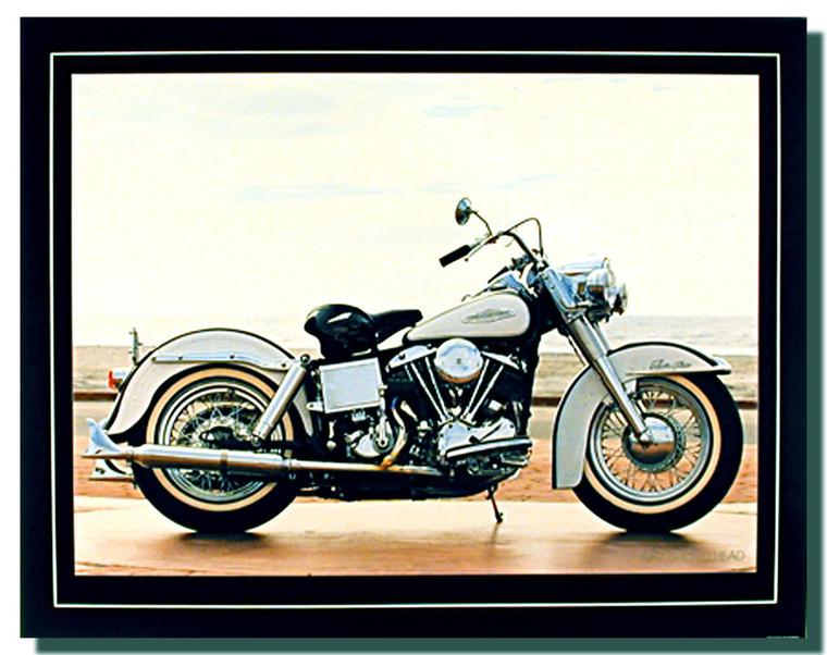 White Shovelhead Motorcycle Posters