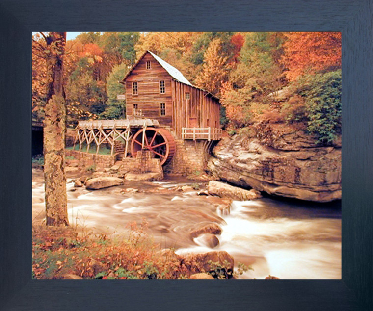 Glade Creek Wood Grist Mill Landscape Nature Wall Decor Picture Espresso Framed Art Print (20x24)