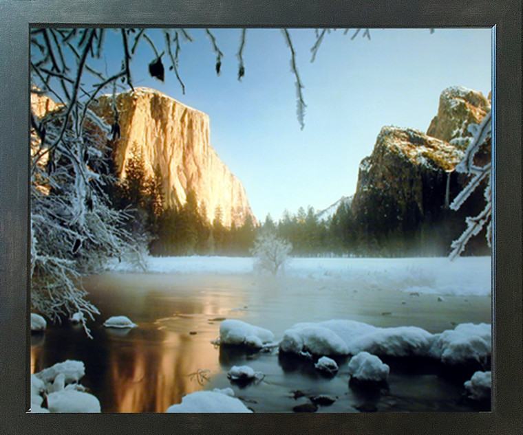 Yosemite Valley and Lake Covered with Snow Landscape Scenic Wall Decor Espresso Picture Framed Art Print (20x24)