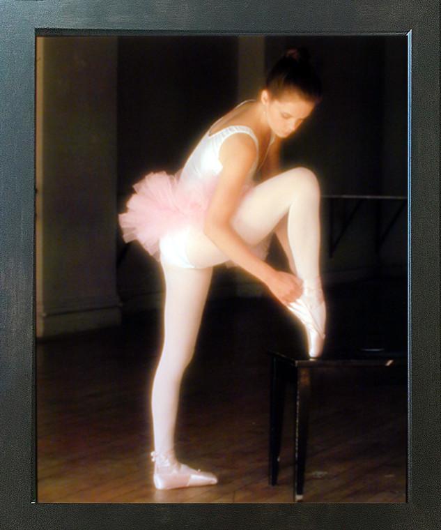 Ballerina Ballet Adjusting Toe Shoe FPG Music Dance Wall Decor Espresso Framed Picture Art Print (20x24)