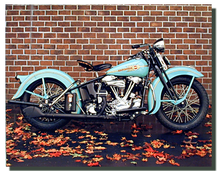 1938 Aqua Harley Davidson Motorcycle Poster - Ron Kimball