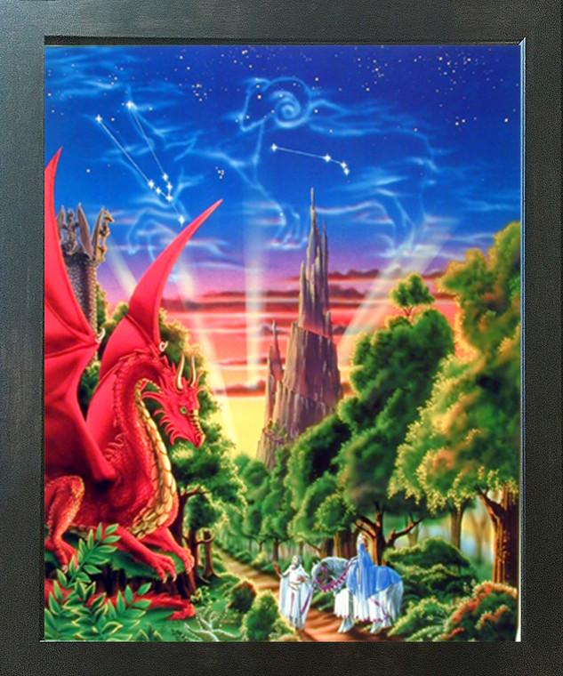 Mythical Dragon Mountain Sue Dawe Fantasy Kids Room Espresso Framed Art Print (20x24)