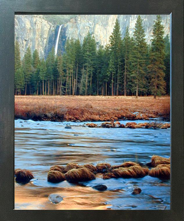 Yosemite Falls & River Trees National Park Landscape Scenery Wall Decor Espresso Framed Picture Art Print (20x24)