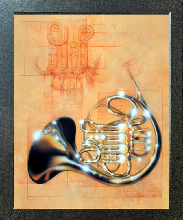 French Horn Musical Instrument Dan McManis Wall Decor Espresso Framed Picture Art Print (20x24)