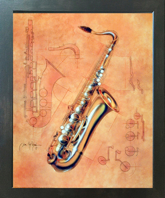 Fine Arts Music Instrument Saxophone Kids Room Wall Decor Espresso Framed Picture Art Print (20x24)