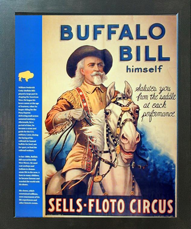 Wild West Show Buffalo Bill Western Cowboy Wall Decor Espresso Framed Picture Art Print (20x24)