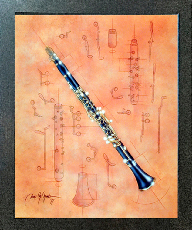 Fine Arts Musical Instrument Clarinet Dan Mcmanis Wall Picture Decor Espresso Framed Art Print (20x24)