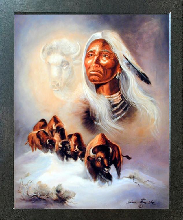 Spirit of the White Buffalo Gina Femrite Native American Wall Espresso Framed Picture Art Print (20x24)