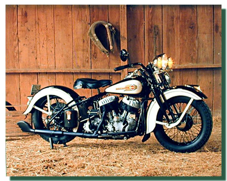 White Black Harley Flathead Motorcycle Posters