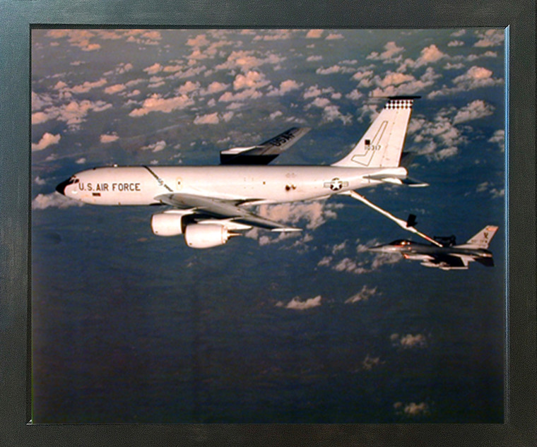 Boeing KC-135 Tanker Refuels F-16 Military Aviation Aircraft Wall Decor Espresso Framed Picture Art Print (20x24)