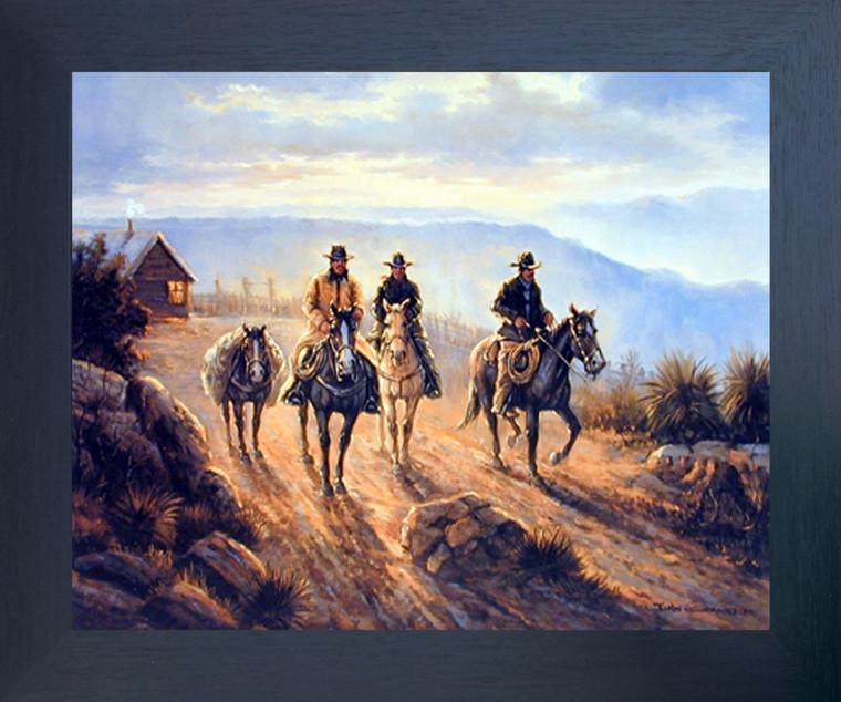 Western Cowboy Riders Wild West Landscape Wall Decor Espresso Framed Picture Art Print (20x24)