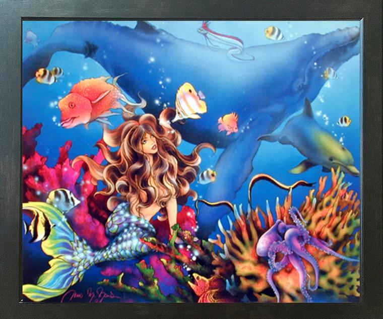 Mermaid & Whale Sci Fi Fantasy Ocean Underwater Coral Reef Wall Espresso Framed Picture Art Print (20x24)