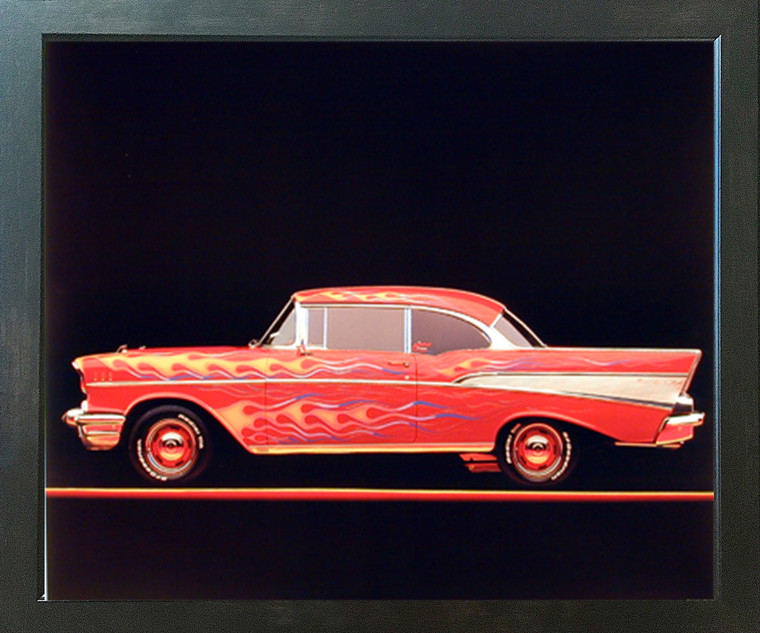 Classic Chevy Bel Air 1957 Vintage Car Wall Decor Espresso Framed Picture Art Print (20x24)