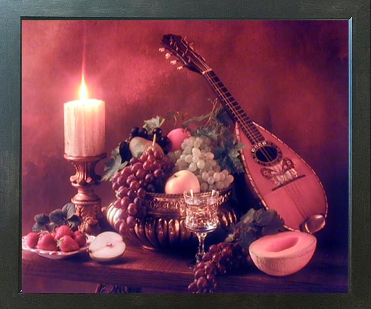 Mandolin Music Instrument & Fruits Still Life Wall Decor Espresso Framed Picture Art Print (20x24)