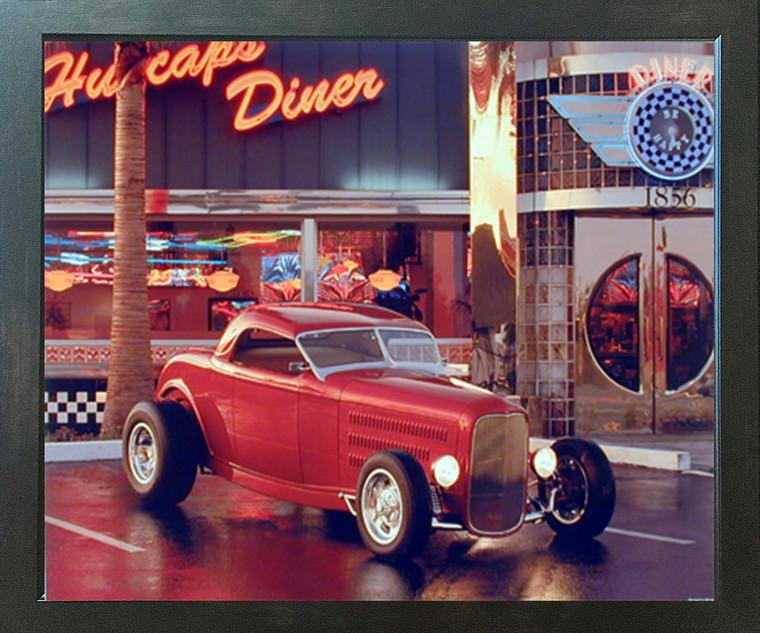 Vintage Red Ford Roadster At Cafe Diner Car Espresso Framed Picture Art Print (20x24)