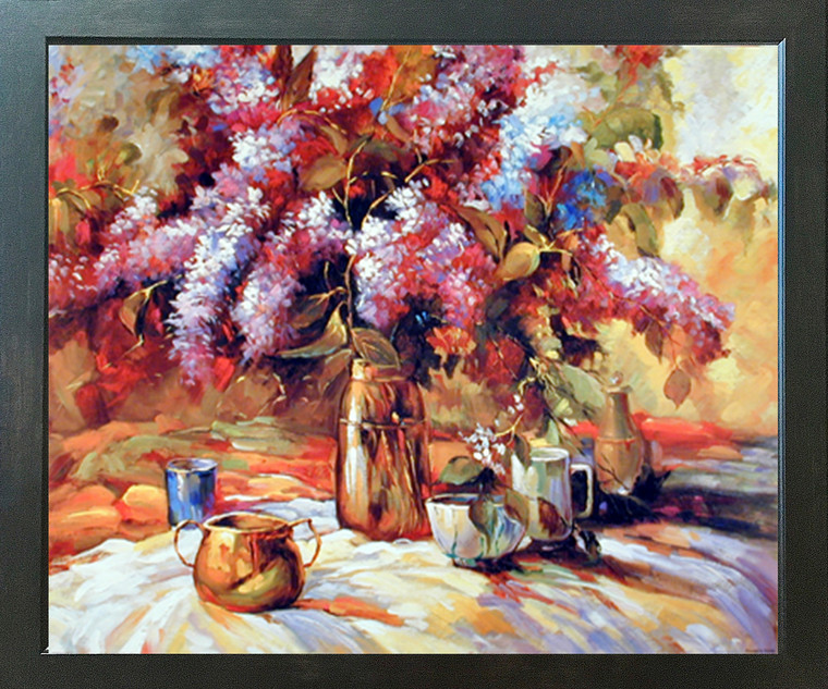 Flowers in Vase Floral Still Life Wall Decor Espresso Framed Picture Art Print (20x24)
