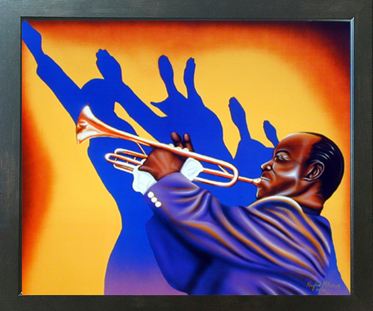 Birth of the Blues Trumpet Man Music Wall Decor Espresso Framed Picture Art Print (20x24)