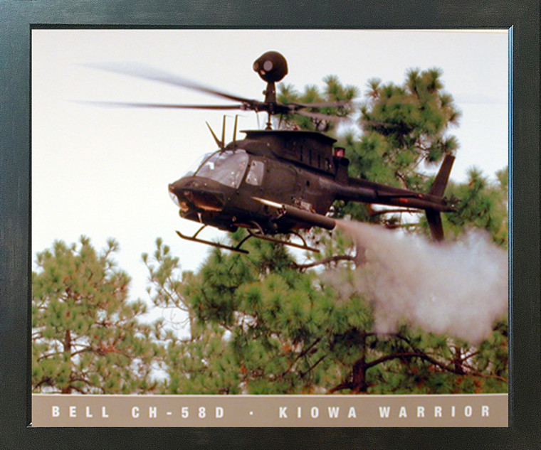 Military Bell CH 58D Kiowa Warrior Helicopter Aviation Wall Espresso Framed Picture Art Print (20x24)