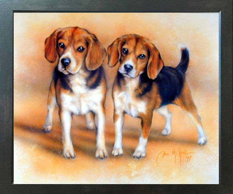 Two Beagle Cute Dog Puppies Dan Mcmanis Espresso Framed Art Print (20x24)