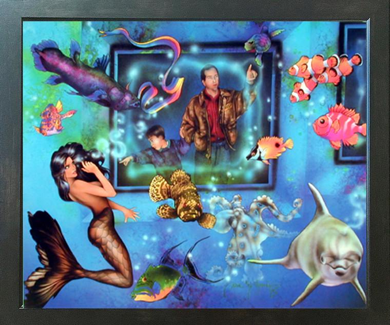 Lady Mermaid in Aquarium with Ocean Fish Fantasy Espresso Framed Picture Art Print (20x24)
