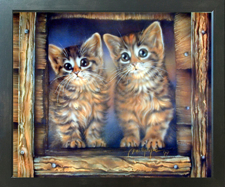 Two Cute Cat Kittens Toyger Wall Decor Espresso Framed Art Print (20x24)