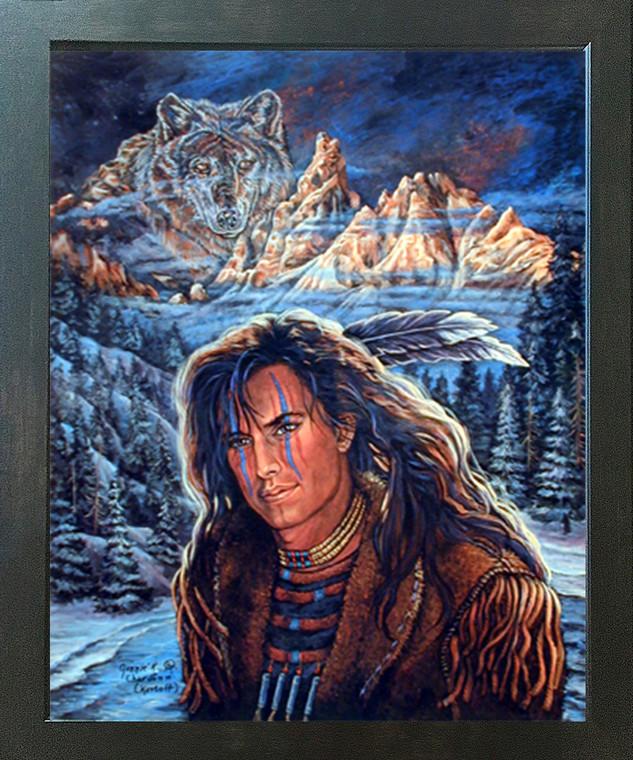 Wolf Brave Native American Picture Espresso Framed Art Print (20x24)