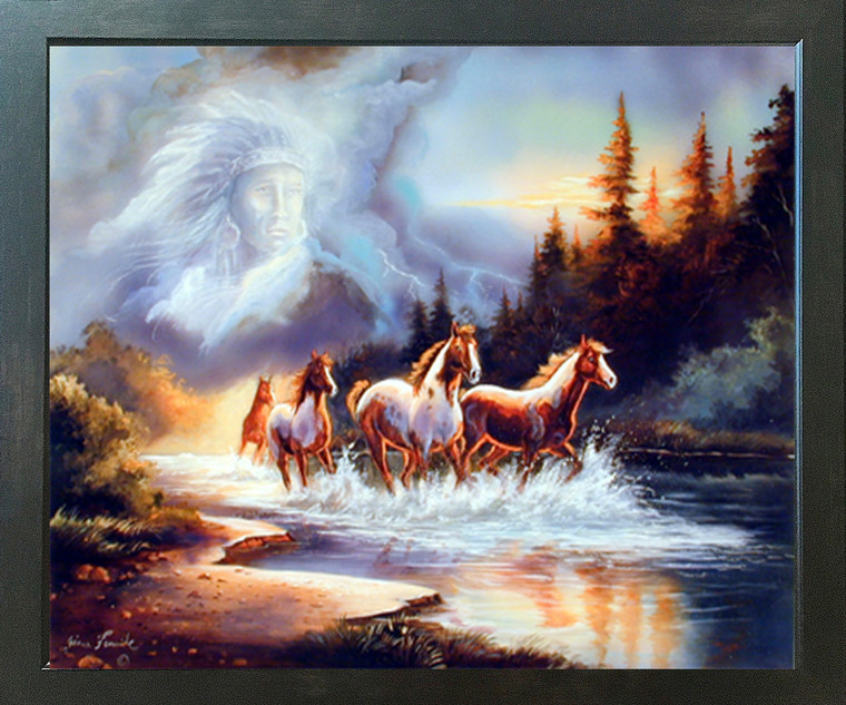 Horse Runs in Lake with Indian Spirit Espresso Framed Picture Art Print (20x24)