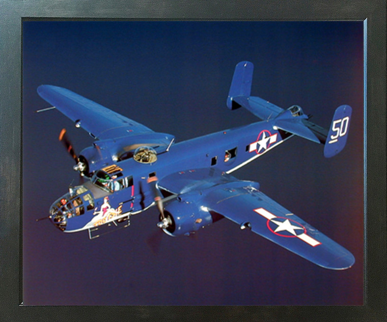 WWII B-25 Mitchell Bomber Military Airplane Aviation Espresso Framed Picture Art Print (20x24)