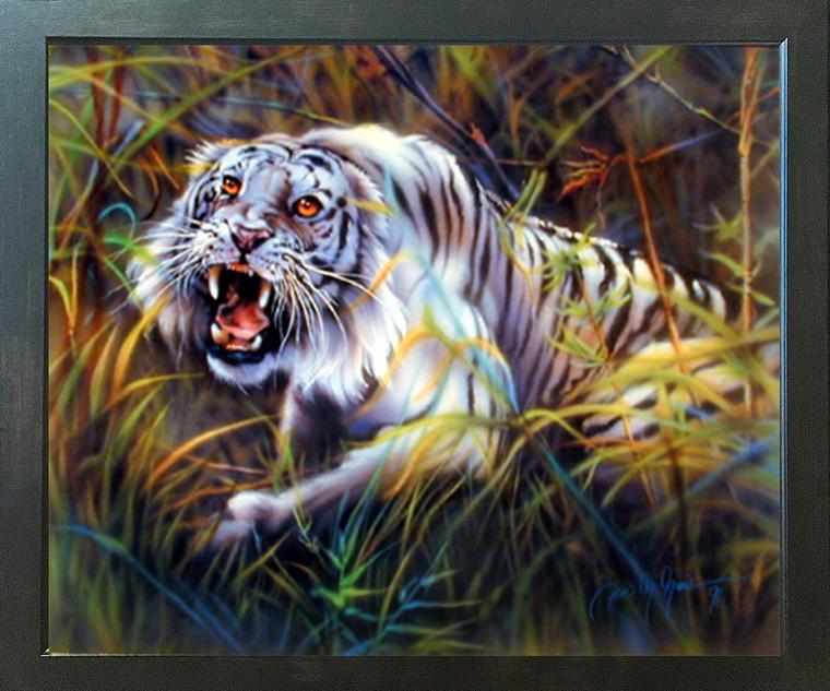 WhiteTiger Dan McManis Wildlife Animal Wall Decor Espresso Framed Picture Art Print (20x24)