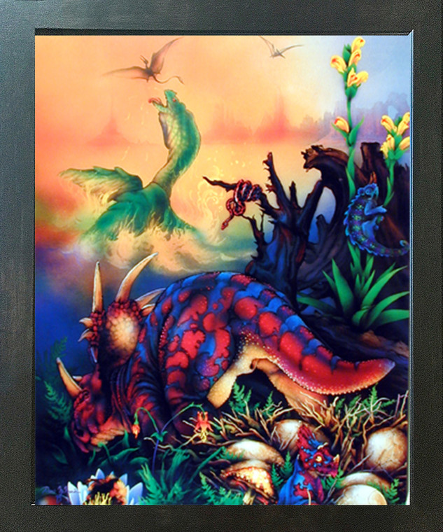 Triceretops Dinosaurs Kids Room Wall Decor Espresso Framed Picture Art Print (20x24)