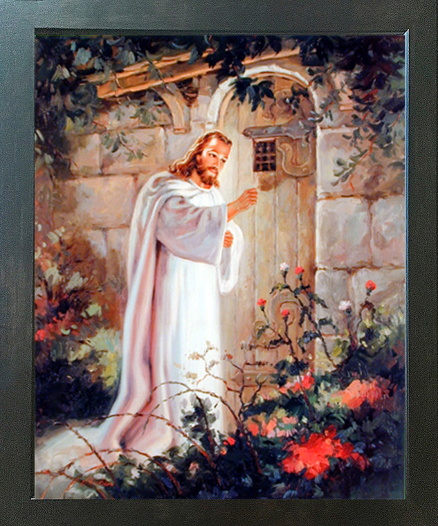 Jesus Christ Knocking At the Door Religious and Spiritual Wall Decor Espresso Framed Art Print Picture (20x24)