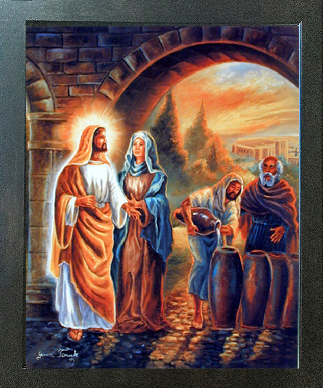 Jesus Christ the First Miracle At Wedding Christian Religious & Spiritual Wall Decor Espresso Framed Art Print Picture (20x24)