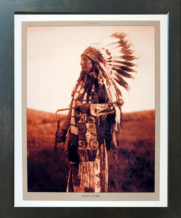 High Hawk Native American Espresso Framed Picture Art Print (20x24)