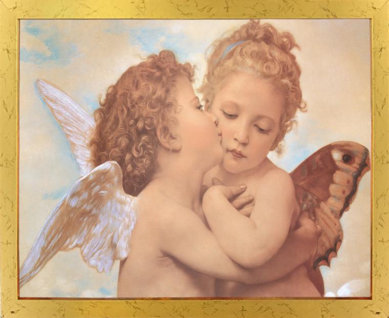 William-Adolphe Bouguereau The First Kiss Wall Decor Golden Framed Art Print Poster (18x24)