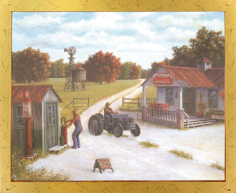 Vintage Gas Station Country Coca Cola Store Painting Landscape Golden Framed Wall Decor Art Print Poster (18x24)